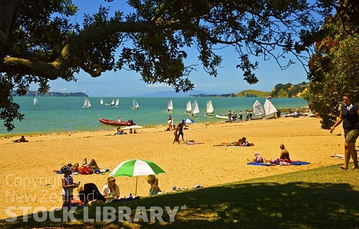 Auckland East;Auckland;Kohimarama Beach;Tamaki Strait;crowds;sunbathers;Yachting;kayaking;Harbourfishing;fishing;boating;speed boating;blue sky;blue sea;Beach;sandy beach;homes;swimming;New Zealand photography