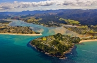 Aerial;Tairua;Coromandel;sandy_beaches;bachs;holiday_homes;blue_sky;blue_sea;bus