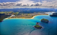 Aerial;Whangamata;Coromandel;sandy_beaches;bachs;holiday_homes;blue_sky;blue_sea