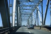 Auckland_Central;Auckland_bridge;Waitemata_Harbour;blue_sky;car_on_bridge