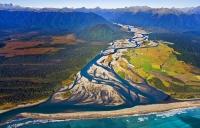 Aerial;Haast;West_Coast;State_Highway_6;mountains;valleys;Haast_river;Tasman_Sea